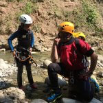 Vater und Tochter Canyoning